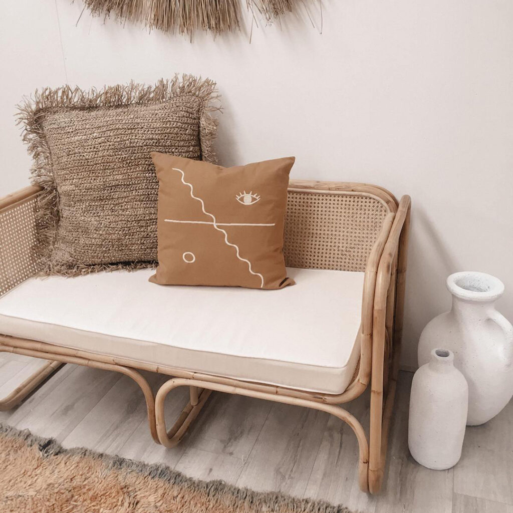 Luna Square 2 Seater Haus Of Higgs Handmade Rattan Furniture Chair Sofa Bedhead Coffee Table Bali Wicker Cane Kids Moroccan Boho Costal Villa Homewares Decor Interior Interiors Styling Design Style